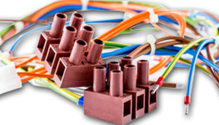 Colourful cable assemblies on white background