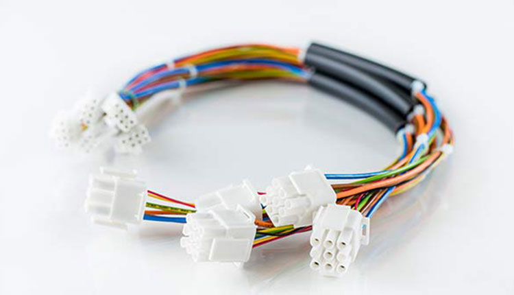 Bunch of cable assemblies with multicoloured wires